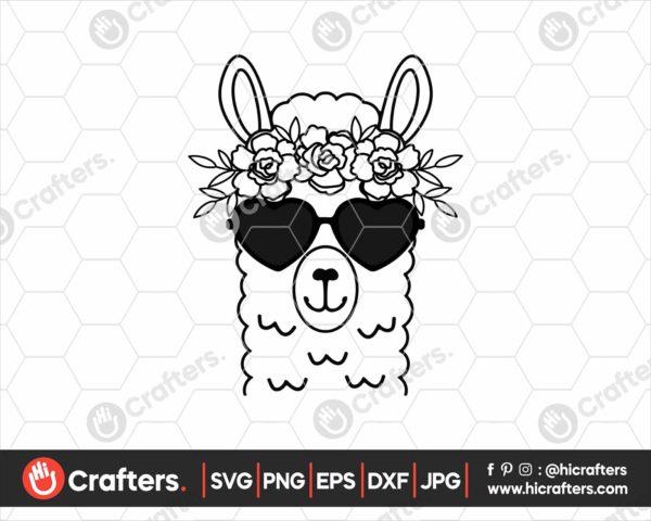 039 Llama with Flower Crown SVG Llama with Flowers
