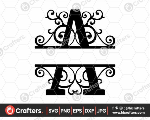 001 Split Monogram SVG A Split letter A SVG