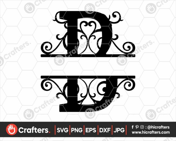002 Split Monogram SVG B Split letter B SVG