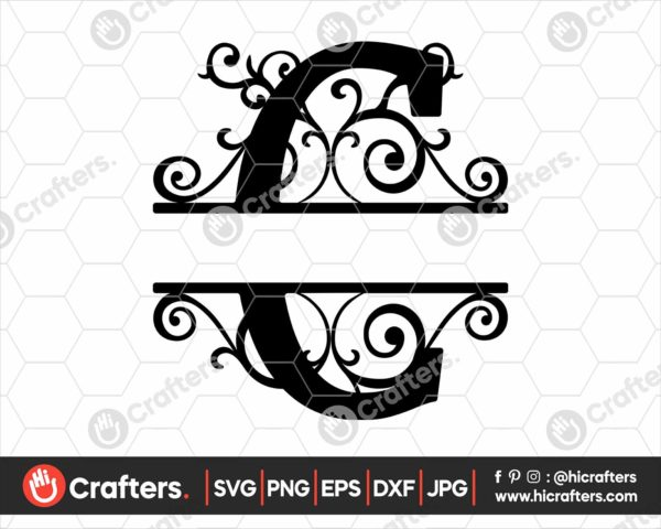 003 Split Monogram SVG C Split letter C SVG