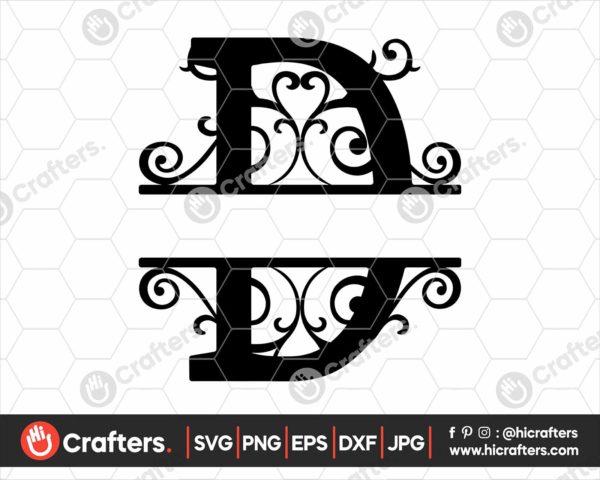 004 Split Monogram SVG D Split letter D SVG