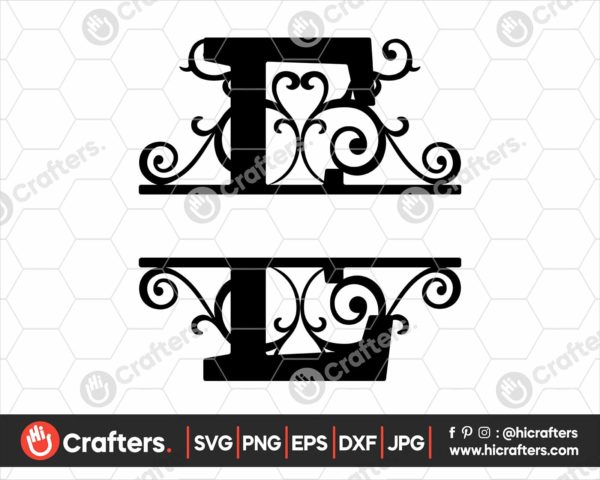005 Split Monogram SVG E Split letter E SVG