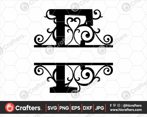 006 Split Monogram SVG F Split letter F SVG