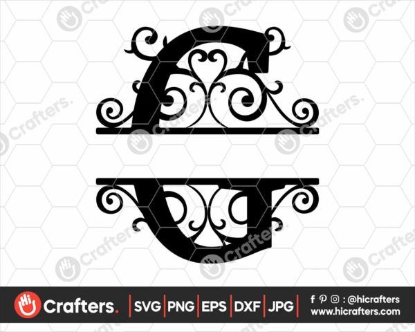 007 Split Monogram SVG G Split letter C SVG