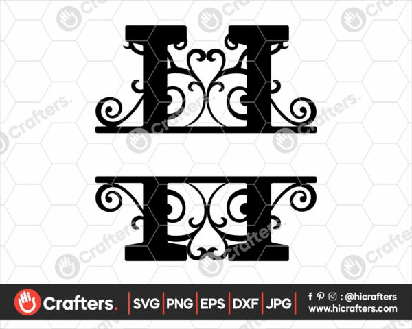 008 Split Monogram SVG H Split letter H SVG