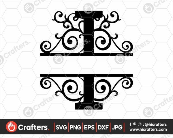 009 Split Monogram SVG I Split letter I SVG