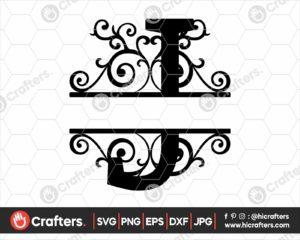 010 Split Monogram SVG J Split letter J SVG