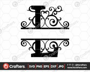 012 Split Monogram SVG L Split letter L SVG