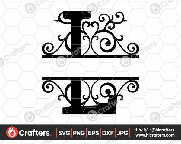 012 Split Monogram SVG L Split letter L SVG