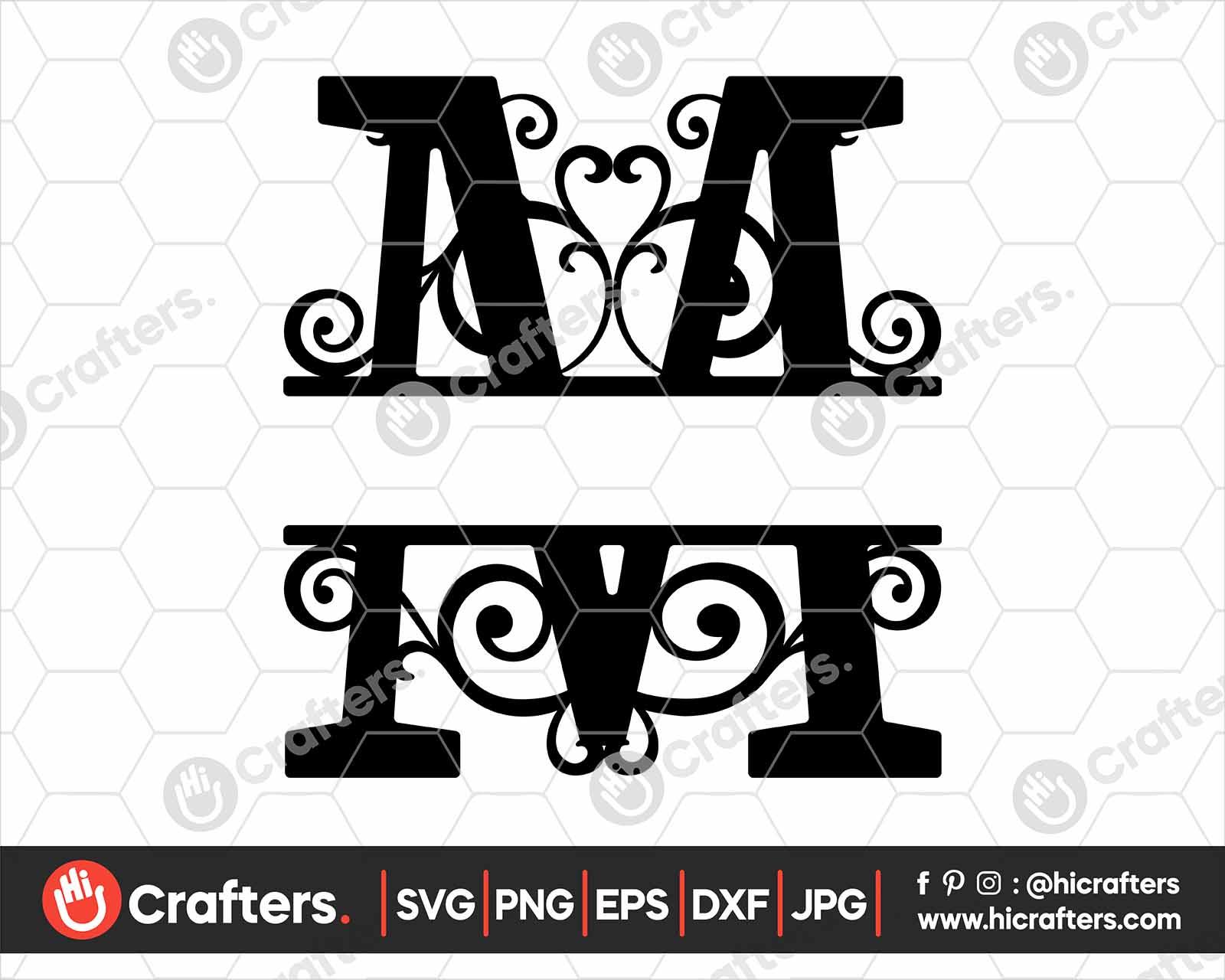 Free Split Monogram M Svg Split Letter M Svg Hi Crafters