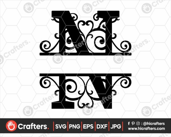 014 Split Monogram SVG N Split letter N SVG