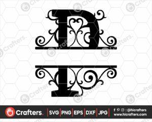 016 Split Monogram SVG P Split letter P SVG