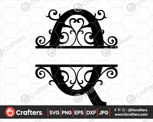 017 Split Monogram SVG Q Split letter Q SVG