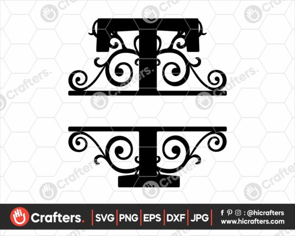 020 Split Monogram SVG T Split letter T SVG