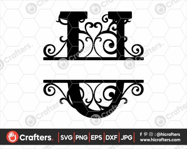 021 Split Monogram SVG U Split letter U SVG