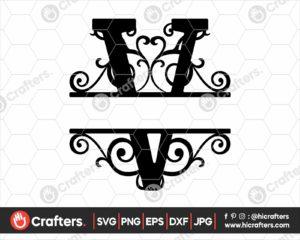 022 Split Monogram SVG V Split letter V SVG