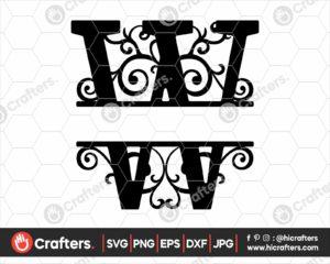 023 Split Monogram SVG W Split letter W SVG