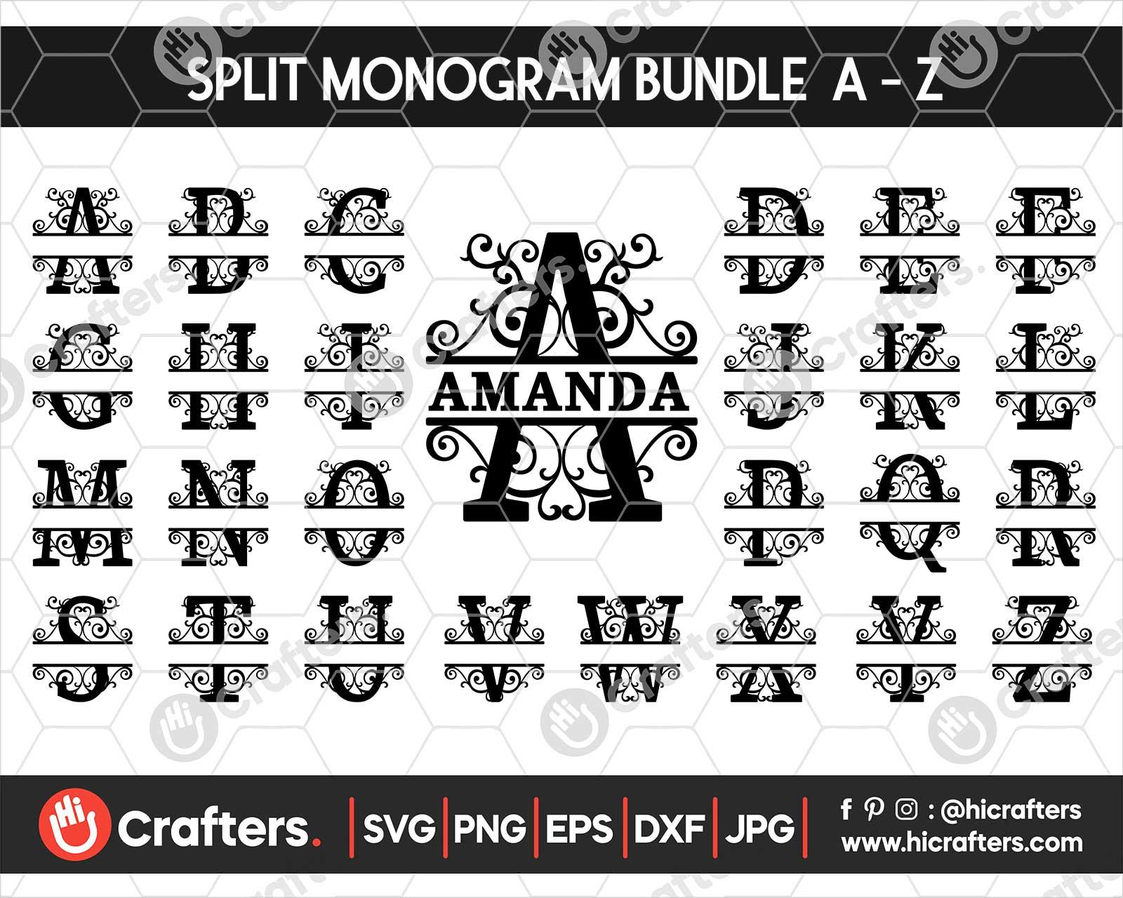 Split Monogram Letters Svg Files For Cricut Hi Crafters