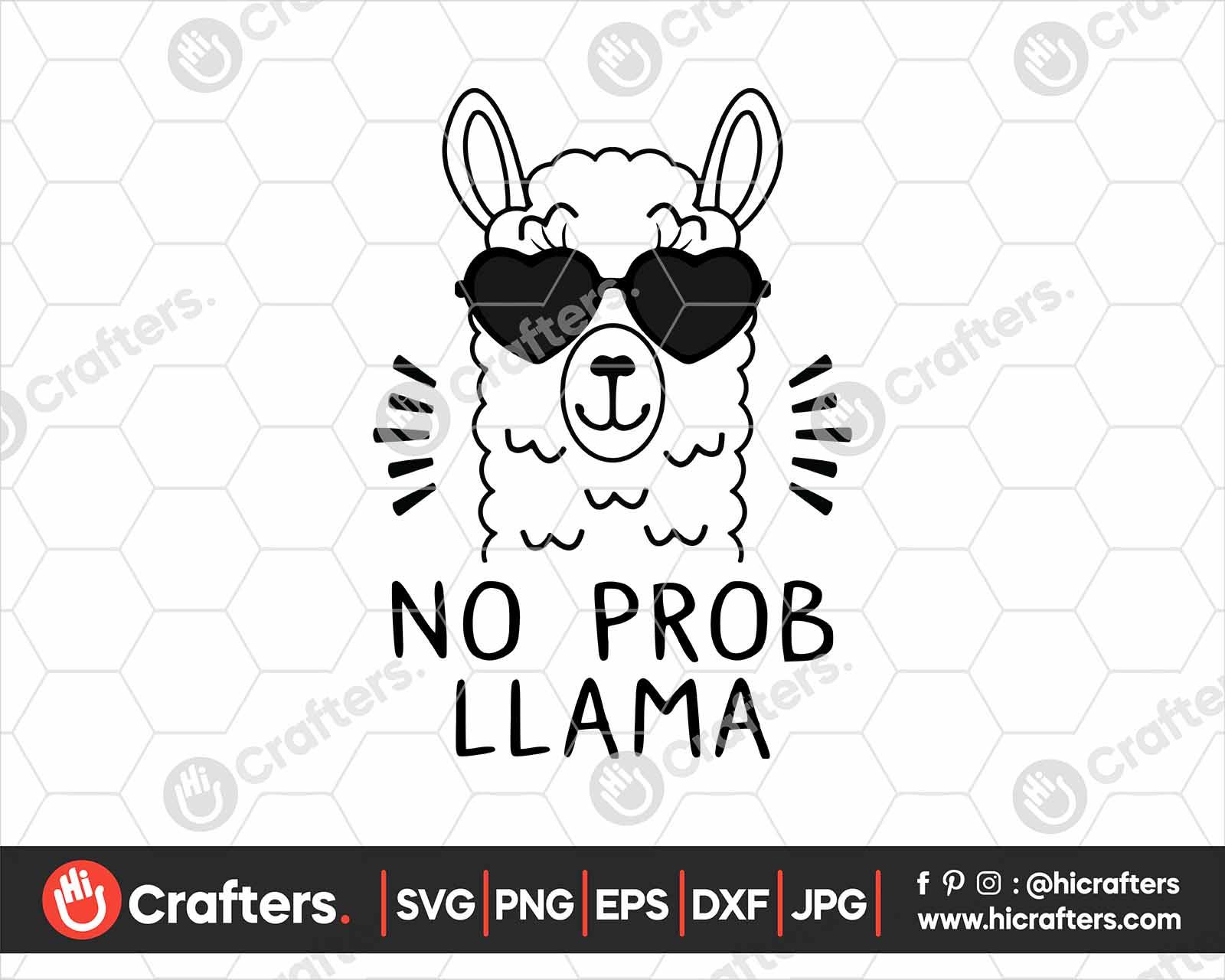 Llama svg Llama in glasses svg no drama llama no prob-llama mama llama cut file design for t-shirt bundle svg