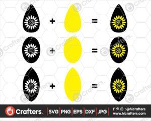 044 Leather Sunflower Earrings SVG