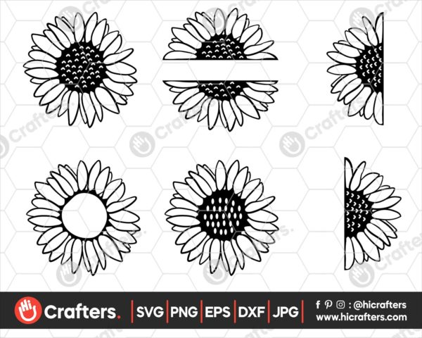 046 Sunflower SVG Bundle Half Sunflower SVG File