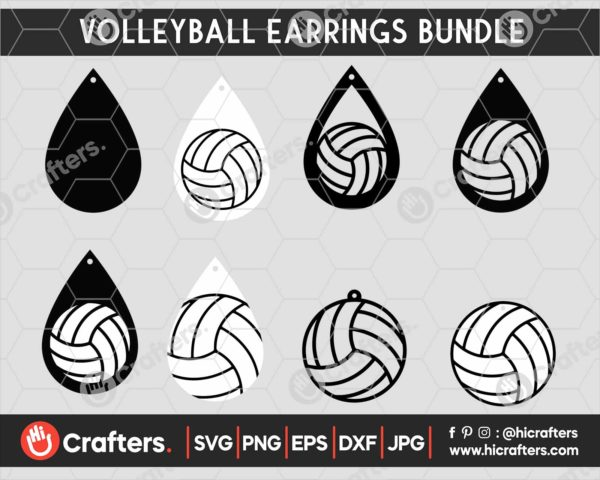 060 Volleyball earring svg