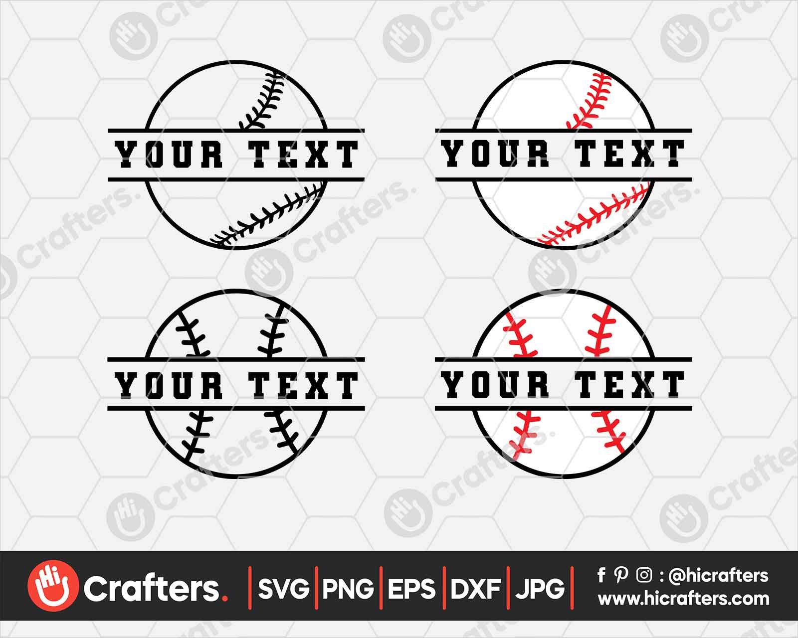 Baseball SVG Split Baseball SVG Digital Download Cricut Design Silhouette Design Split Baseball Cut File