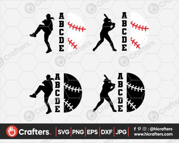 092 Baseball Player SVG Baseball Player Silhouette SVG