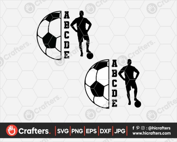 120 Half Soccer Ball SVG Soccer Player SVG