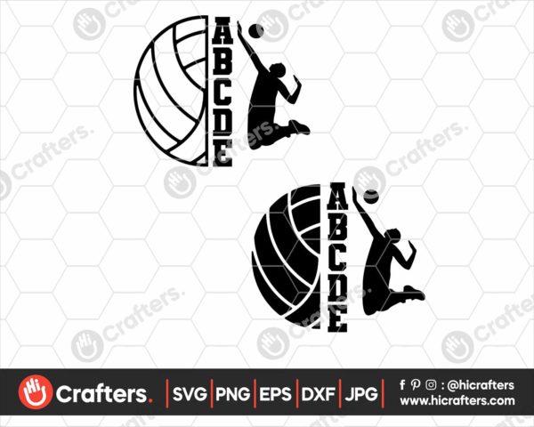 127 Split Volleyball svg