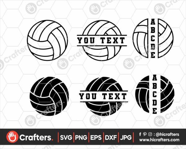 132 Split Volleyball SVG For Cricut