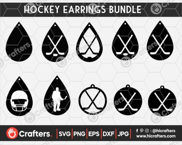 141 Hockey Earrings SVG
