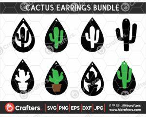 142 Cactus Earrings SVG