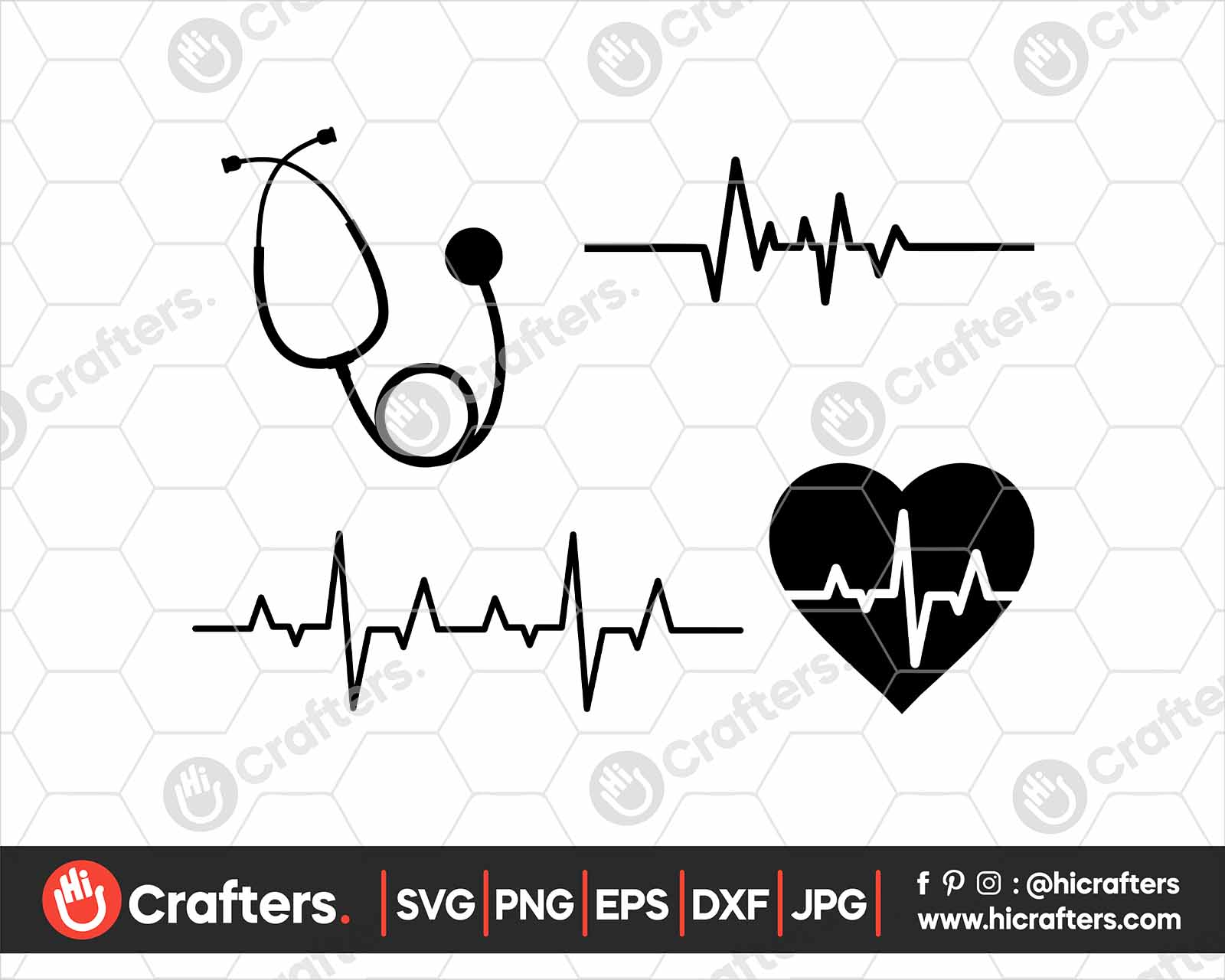 Nurse Stethoscope Svg Heartbeat Svg Cut Files Hi Crafters
