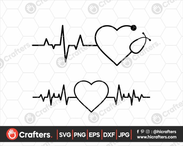 165 Nurse Monogram SVG Nurse Heartbeat SVG