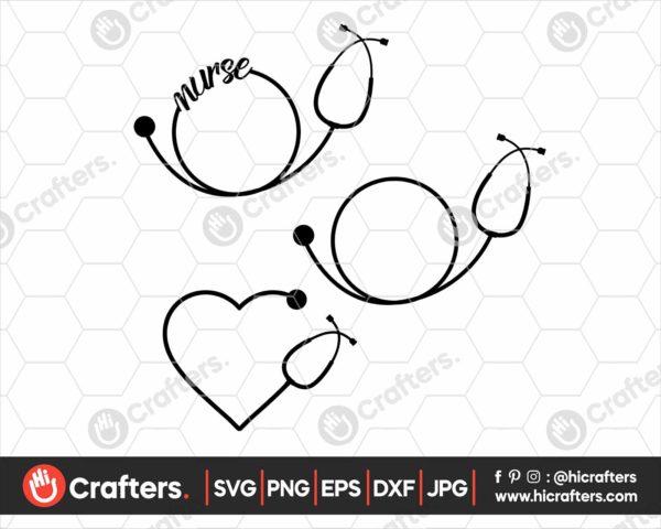 167 Nurse Monogram SVG Nurse Stethoscope SVG
