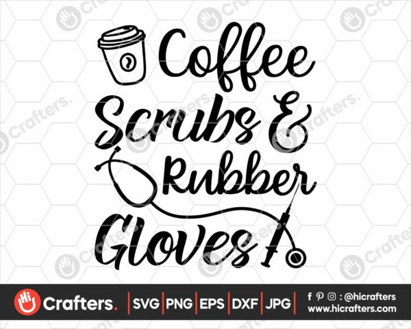 173 Coffee Scrubs and Rubber Gloves SVG