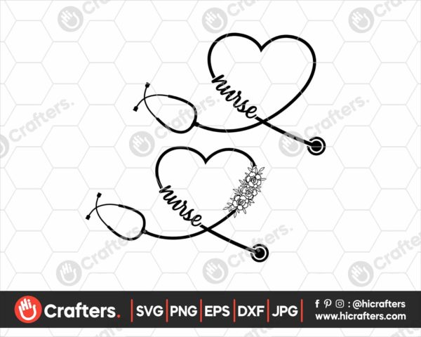 180 Nurse Stethoscope SVG Files For Cricut