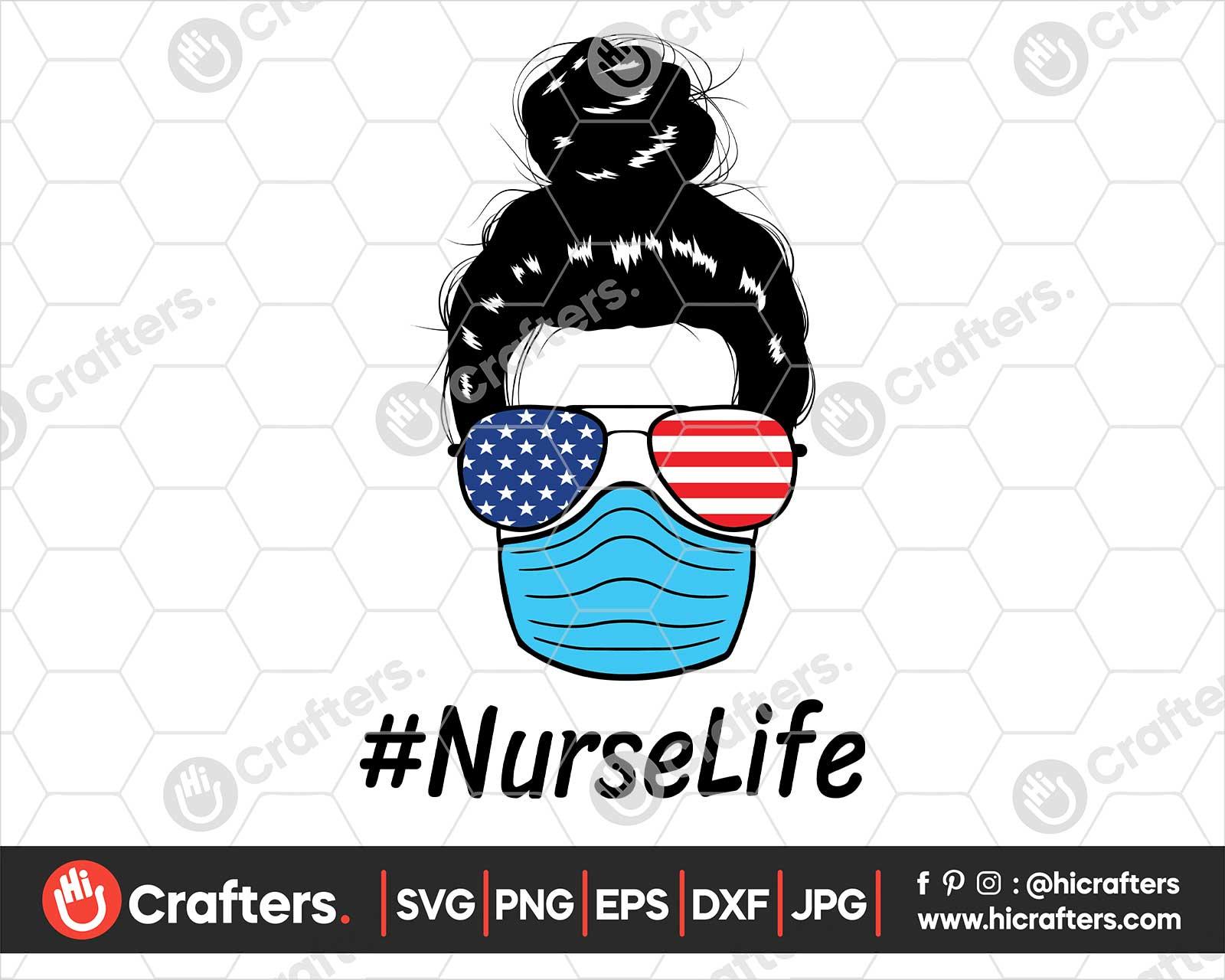 Nurse With Mask Svg Nurse With Flag Svg Png Hi Crafters