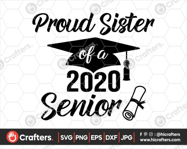 238 proud sister of a 2020 senior svg png
