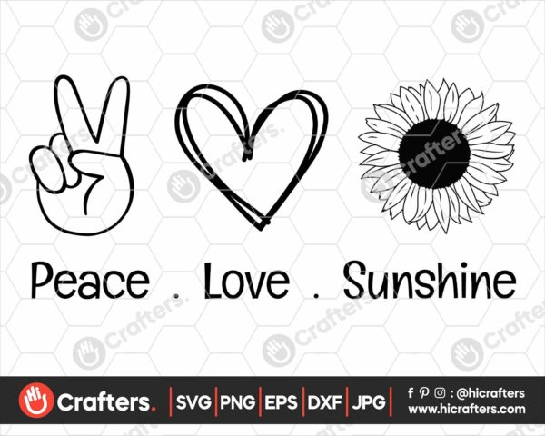 345 Peace Love Sunshine SVG Sunflower SVG