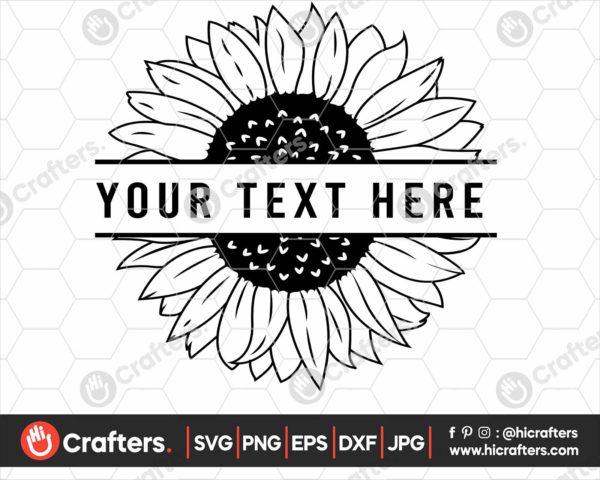 346 Split Sunflower SVG Sunflower monogram SVG
