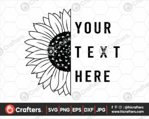 347 Half Sunflower SVG Split Sunflower SVG PNG
