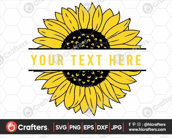 348 Split Sunflower SVG Cut file For Cricut