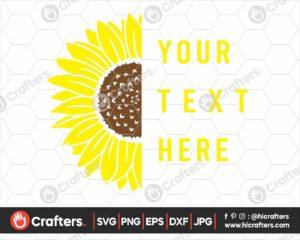 349 Split Sunflower SVG Half Sunflower SVG