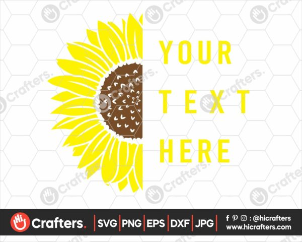349 Split Sunflower SVG Half Sunflower SVG
