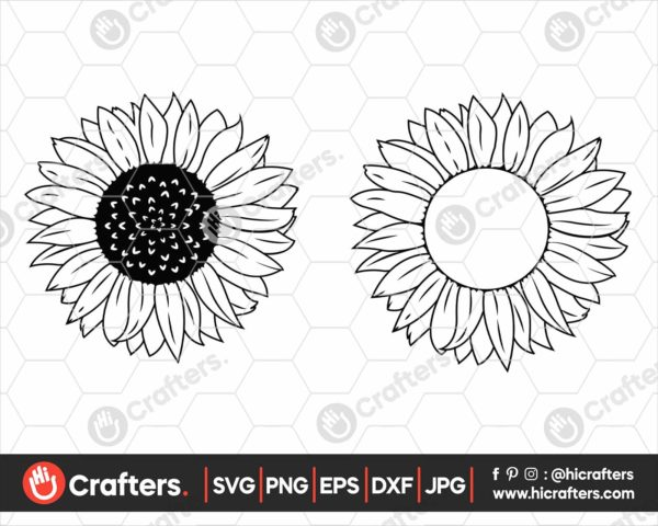 351 Sunflower Monogram SVG Sunflower Silhouette SVG PNG