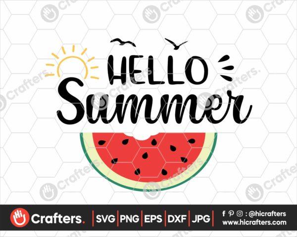 373 hello summer svg watermelon svg png