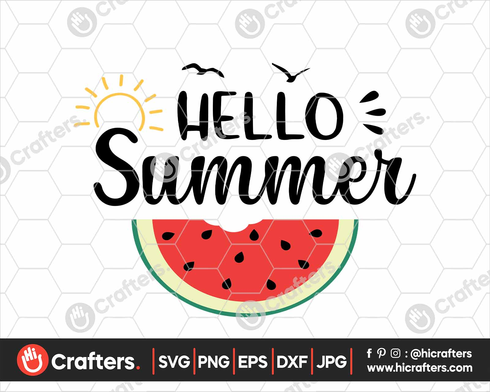 Hello Summer Svg Watermelon Svg Png For Cricut Hi Crafters