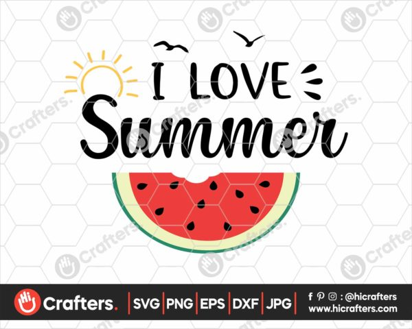 374 I love summer svg watermelon svg file